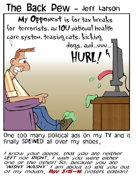 This christian cartoon features the 24/7 news til you barf channels
