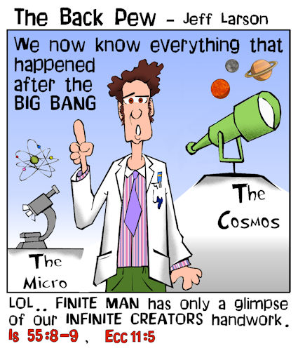 This christian cartoon features a cosmologist trying to explain infinite God