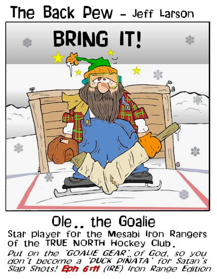sports cartoons, hockey cartoons, ole the goalie cartoons