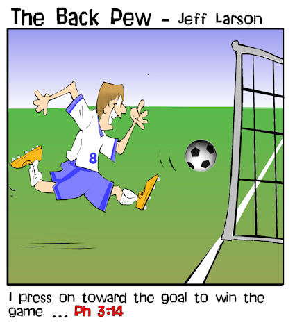 soccer cartoons, soccer player cartoons, philippians 3:14