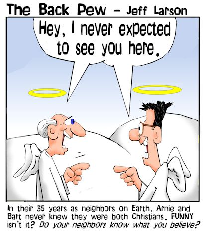 this Heaven cartoon features to guys finding irony in meeting each other  in Heaven