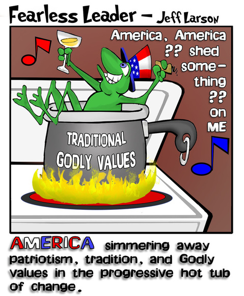 This political cartoons illustrates America as the frog in the boiling pot of change