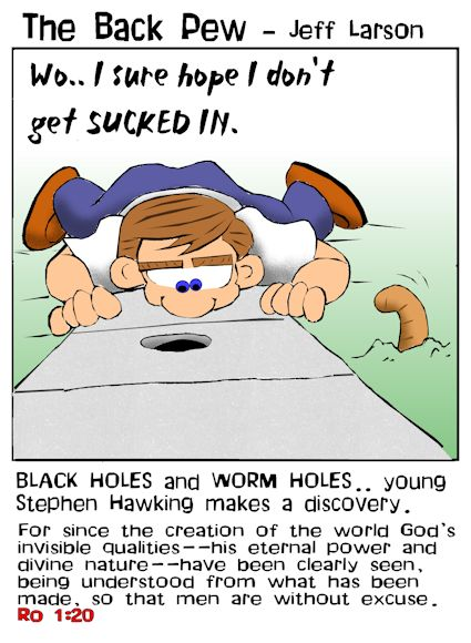 This christian cartoon features young Stephen Hawking discovering a BLACK HOLE