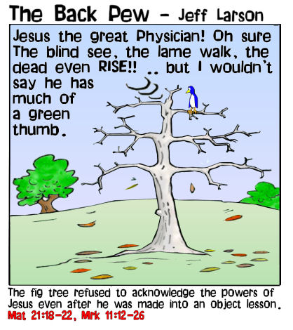 This gospel cartoon features Jesus cursing the fig tree