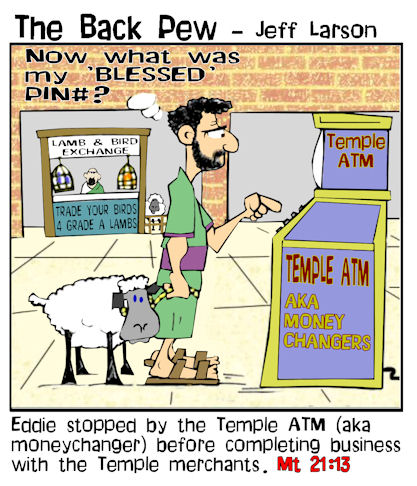 This gospel cartoon features  the temple money changers as ATM machines