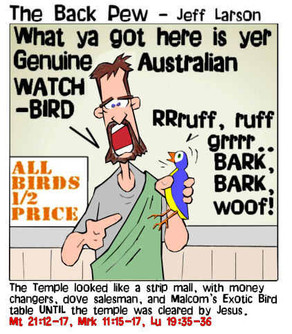 This gospel cartoon features Malcom selling birds in the temple