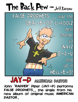 This christian cartoon features John Piper as a theologian rapper