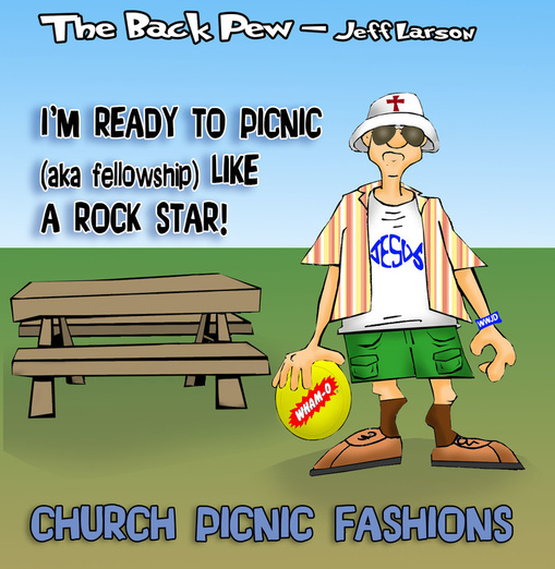 This Christian cartoon features Baptist picnic fashions on a runway somewhere in Minnesota