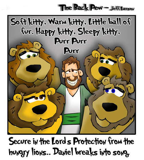 This christian cartoon features Daniel in the Lions Den from Daniel 6