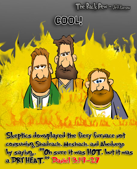 This bible cartoon features the story of the fiery furnace from Daniel 3:19-27