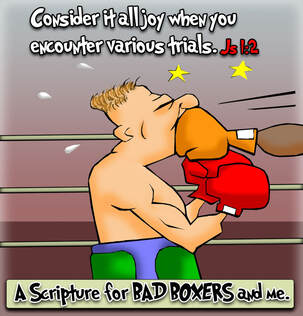 This christian cartoon features a boxer taking one on the chin considering it all joy James 1:2