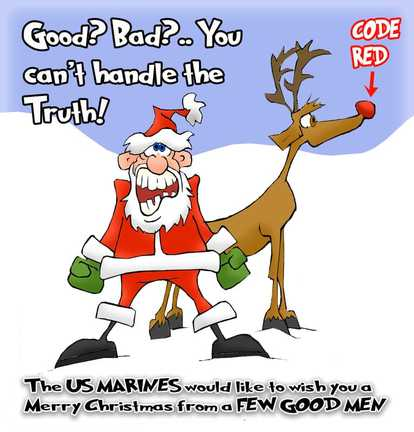 This Christmas cartoon features Santa wishing a Merry Christmas to a few good men