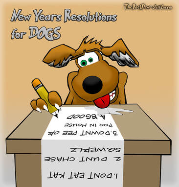 This christian cartoon features a dog making practical New Years Resolutions