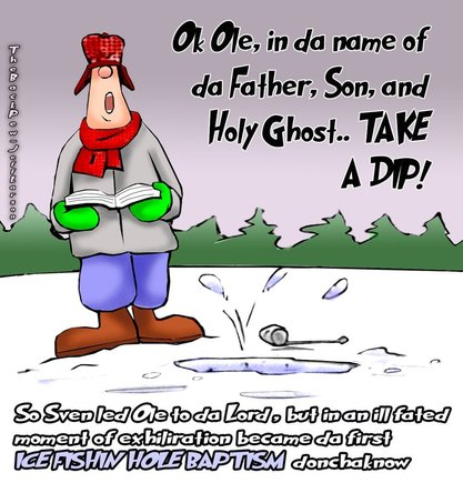 This Minnesota cartoon features an Ice Fishing Hole Baptism