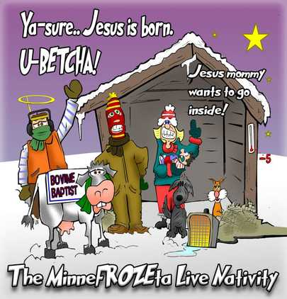 This Christmas cartoon features a Live Nativity in Minnesota