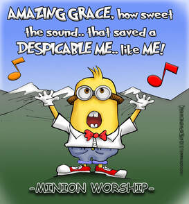 This christian cartoon features a minion singing amazing grace