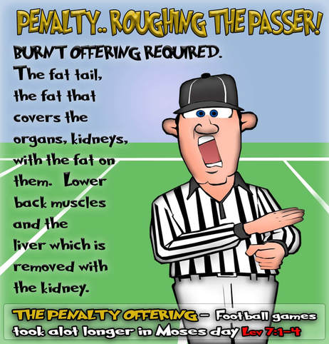 This Bible cartoon features a football referee from the book of Leviticus