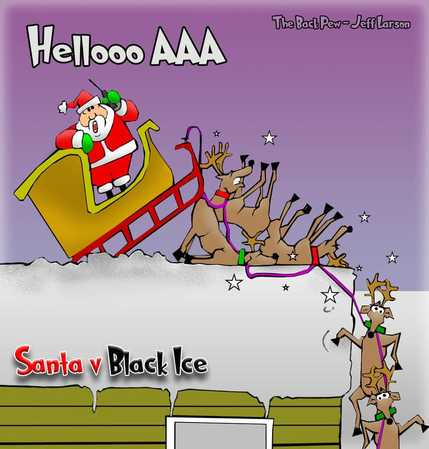 This Christmas cartoon features Santa Claus hitting a patch of black ice.