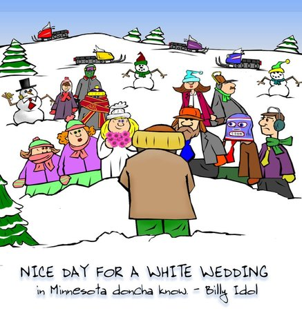 This christian cartoon features an outdoor wedding in Minnesota - a White Wedding