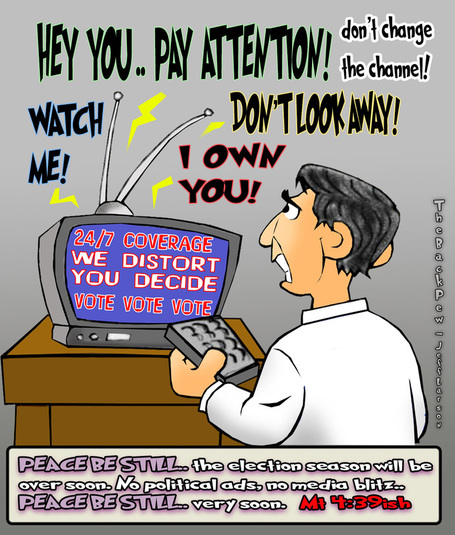 This election cartoon features the barrage of the nightly news telling us what we should think