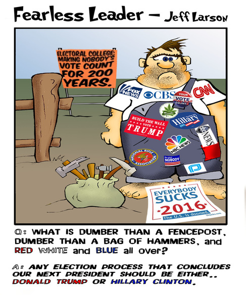This political cartoon screams the futility of voting for president in 2016