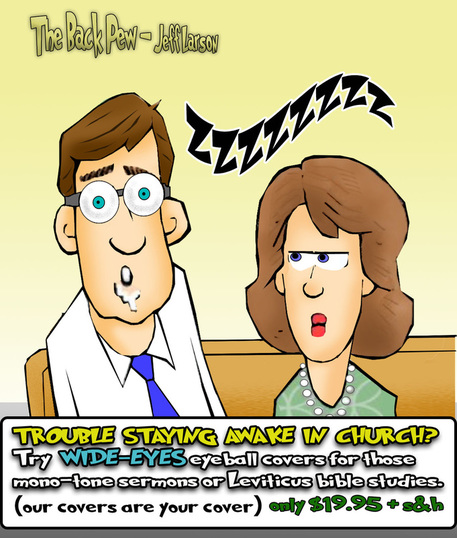 This church cartoon features WIDE EYES as a solution for those who sleep in church