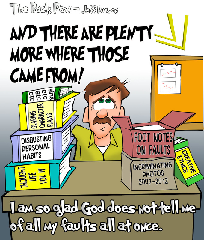 This christian cartoon illustrates how God's Grace is patient with our many faults.