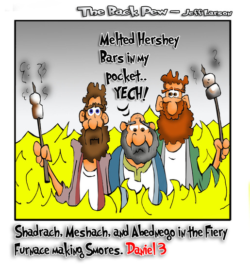 This bible cartoon features the Fiery Furnace story from Daniel 3 told with 'smores'