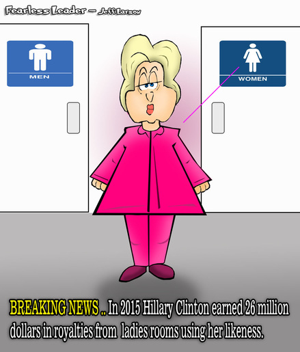 This political cartoon features Hillary Clinton and her uncanny resemblence to ladies room images