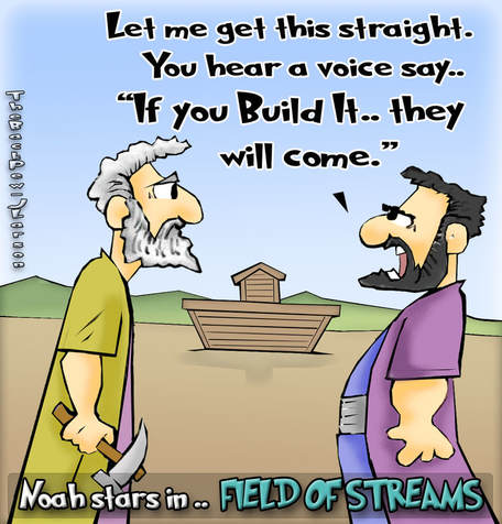 this Noah cartoon features the bible story from the book of Genesis about Noah building the ark