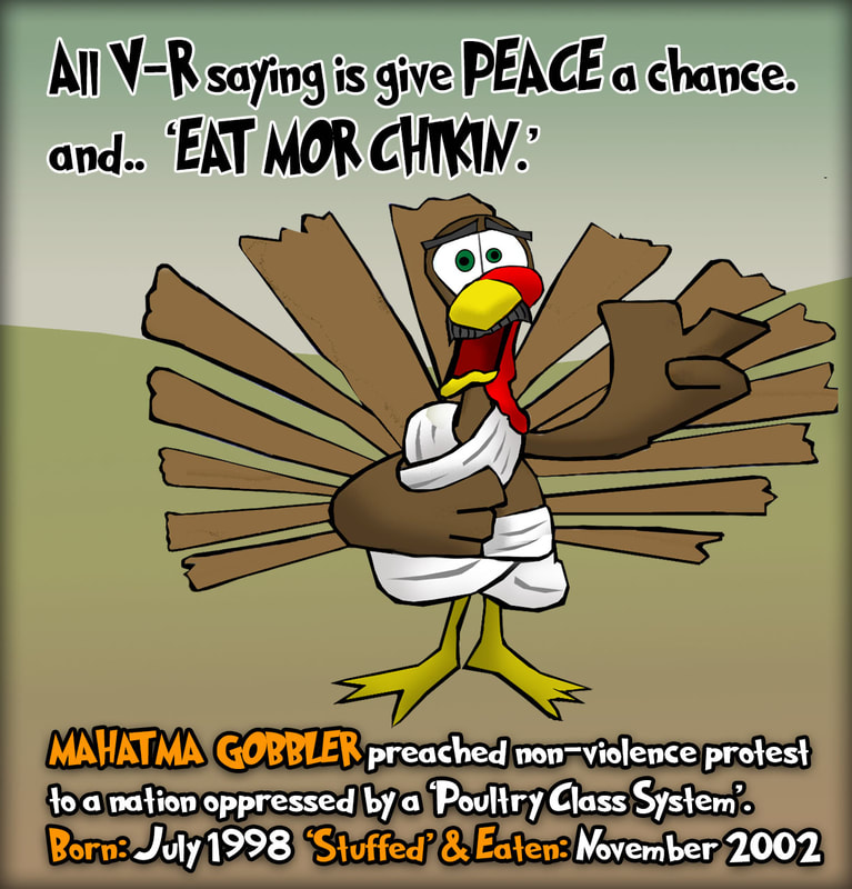 This Thanksgiving cartoon features the Gandhi Gobbler