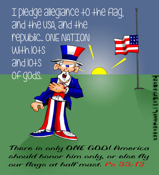 This christian cartoon features Uncle Sam reciting the pledge but having trouble with the concept of God.