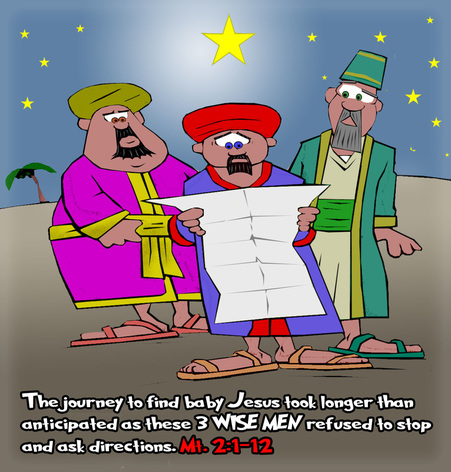 This Christmas cartoon features the 3 wisemen lost