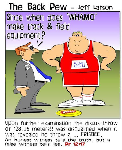 sports cartoons, track and field cartoons, discus cartoons, proverbs 12:17
