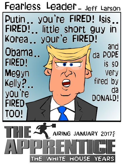 This Donald Trump cartoon features the presidency turned into the Apprentice white house edition