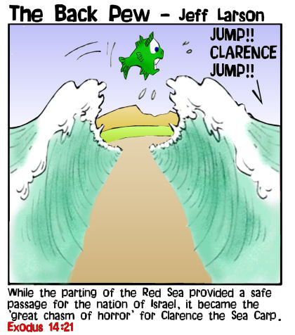This bible cartoon features the story in Exodus 14 where Moses part the Red Sea leaving Clarence the Carp horrified