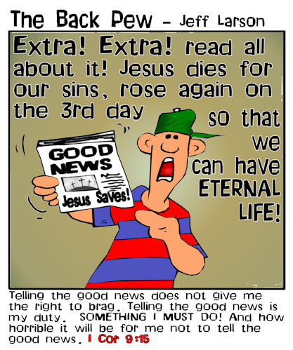 This christian cartoon features the good news that Jesus Christ saves!