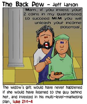christian cartoons, money cartoons, budget cartoons, widows mite cartoons, luke 21:1-4