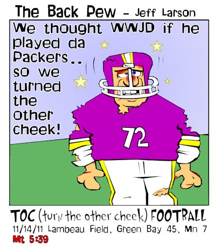 football cartoons, football player cartoons, turn the other cheek cartoons, Matthew 5:39