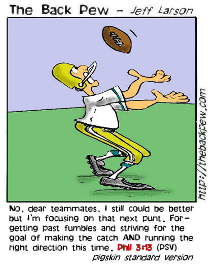 football cartoons, football player cartoons, Philippians 3:13