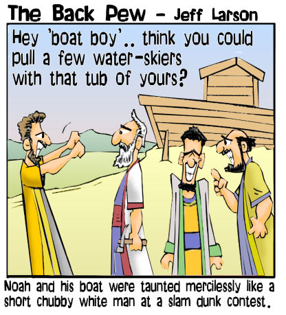 Noah cartoons of building the  Ark in a desert