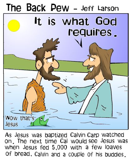 this gospel cartoon features John baptizing Jesus