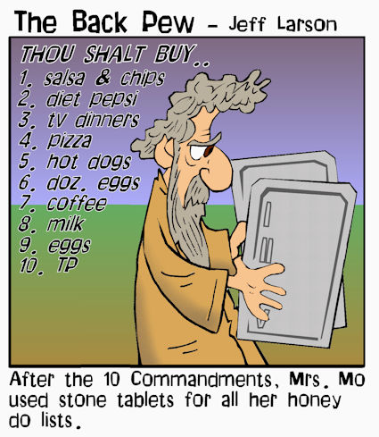 This bible cartoon features Moses with the 10 commandments grocery list from his wife
