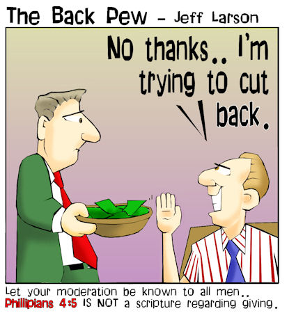 This church cartoon features an offering plate being rejected