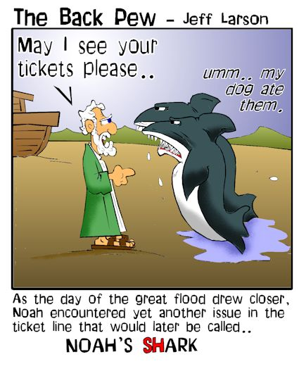 Noah cartoons loading sharks on the Ark in Genesis 7