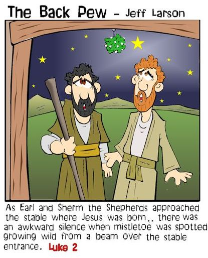 mistletoe, cartoons, Luke 2, shepherds, manger, Jesus is born