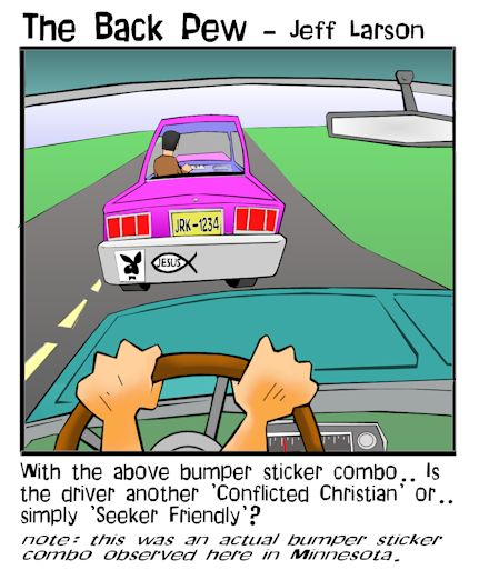 driving cartoons, christian cartoons, conflicted christian driver cartoons