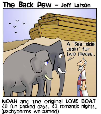 Noah cartoons loading the elephants on the Ark in Genesis 7
