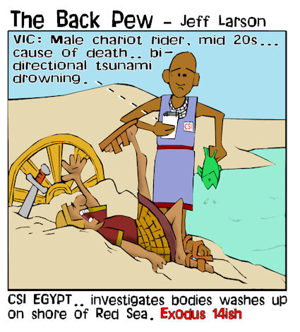 moses parts red sea cartoons, moses cartoons, crossing on dry ground cartoons, exodus 14:23, egyptian chariots sank cartoons