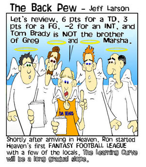 heaven cartoons, christian cartoons, pearly gates cartoons, angel cartoons, ron sykes in heaven cartoons, fantasy football in heaven cartoons